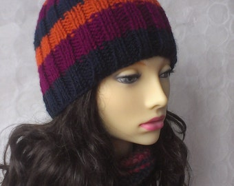 KNITTING PATTERNS SAM /Womans Striped Ribbed Beanie/Easy/Knit Straight/ Striped Hat/Beanie Hat/ Striped hat Pattern