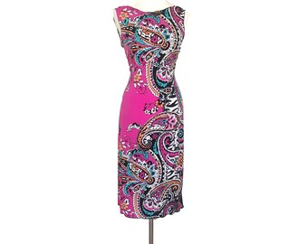 Pin up dress, argentina tango dress. Low back midi dress, wiggle dress. Pink sensation wedding guest dress. Ballroom dance dress with slit.