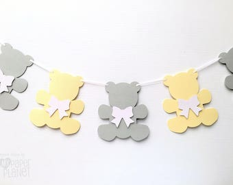Teddy Bear Garland Pastel Yellow and Grey. Bears & bows. Baby shower banner, party decor, teddy bear's picnic, first birthday. Photo prop.