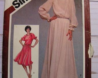 Loose fitting raglan sleeve dress in 2 lengths | Misses 14 bust 36 | Simplicity 9824 | cut used complete vintage 1980's sewing pattern