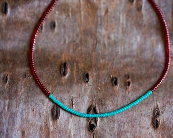 Thin stacking necklace - luster blood red and turquoise - minimalist and simple