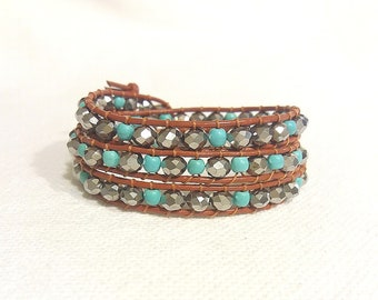 turquoise and silver triple wrap bracelet