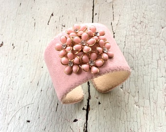 Pale Pink Adjustable Cuff with Rhinestone Centered Flowers