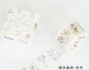 Delicate Branches - Pastel Washi Tape - Leaf Washi Tape - Plants Washi Tape - Tree Branches (30mm X 7m)