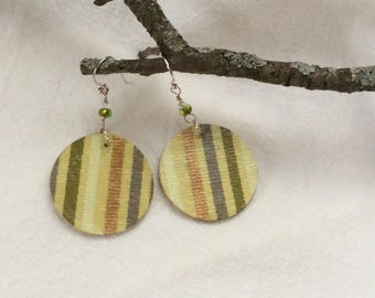 Olive stripe paper earrings