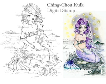 Far Away Messages - Digital Stamp Instant Download / Sea Mermaid Bottle Letter Lady Girl Fantasy Art by Ching-Chou Kuik