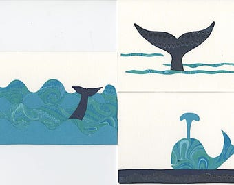 Handmade Card Sets (Whales)