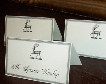 Wedding Place Cards ,Escort Cards, Stag Deer Elk Set 60 Seating Cards, Forest Rustic Antler Vintage Name Place Cards Dinner Placecard