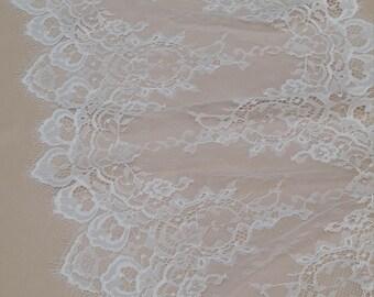 Ivory Lace Trim, French Lace, Chantilly Lace, Bridal Gown lace, Wedding Lace, White Lace, Veil lace, Garter lace, Lingerie Lace EVSL145