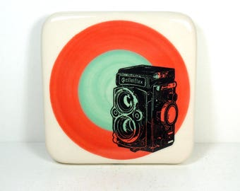 tile with red and blue green color block and a Rolleiflex camera print, ready to ship