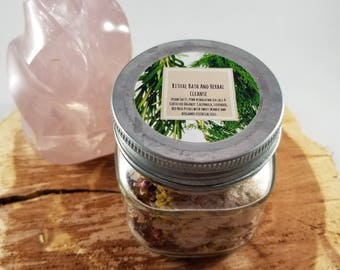 Ritual Bath Salt and Herb Cleanse: Bath Soak, Scrub, Empath and Energy Cleanse, Anti-Anxiety, Calming, Meditation