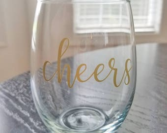 Cheers wine glass decal, sticker for wine or champagne glass, Cheers sticker, wedding toast or favor, bachelorette party favor gift