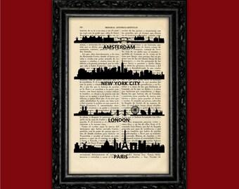 World Cities Skylines Art Print Building Silhouettes Poster Book Art Dorm Room Print Gift Print Wall Decor Poster Dictionary Art Print