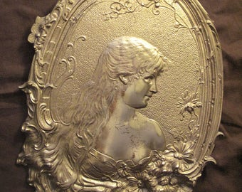 Art Nouveau Lady with Flowers Wall Plaque