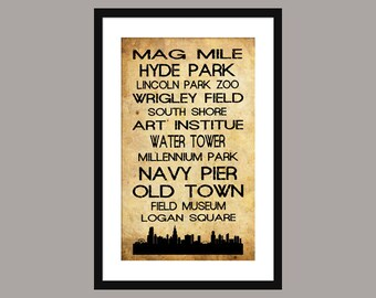 Chicago Subway Scroll - Bus Roll - Poster Print - Skyline - Vintage - sepia