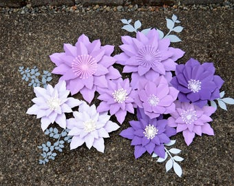 Purple PAPER FLOWERS set. FREE leaves!!!