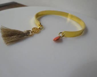 Gold Bangle Bracelet and charms