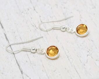November Birthstone Earrings, Topaz Birthstone, Topaz Crystal Earrings, November Earrings, November Jewellery, November Birthday Gift