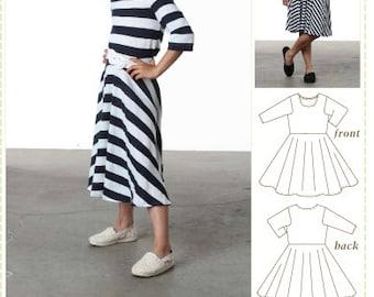 Kids Sewing Pattern, Tween Sewing Pattern, Printed Paper Pattern, Skater Dress, Circle Skirt, Twirly Dress, Tween Sewing Pattern