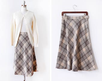 vintage plaid skirt, 80s wool skirt, brown + gray knee length a line midi skirt, medium m