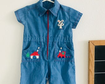 Vintage baby blue romper, 60s baby outfit, 60s little boy outfit, 60s baby romper, collared vintage baby outfit, vintage train outfit,