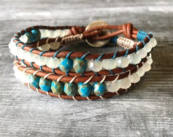 Water & Ice Double wrapped leather bracelet