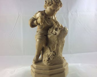 """Vintage 7"""" Young Boy Woodcarver Figurine -1960s - G. Ruggeri - Made in Italy"""
