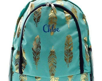 Monogrammed Backpack Personalized Gold Feather Mint Backpack Personalized Backpack Kids Backpack Girls Backpack Boys Backpack