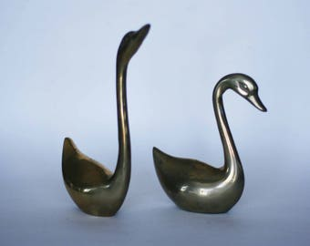 vintage brass swan figurines set of two
