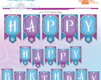Frozen Birthday Banner - Ice Princess Winter Snowflakes Printable Banner - DIY - Do-It-Yourself Printables - Instant Download
