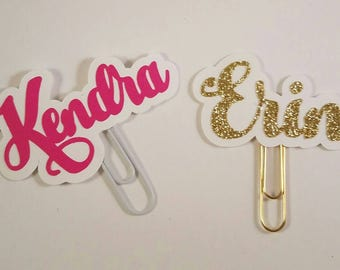 Any Name Glitter Custom Name Planner Paperclip Made to Order