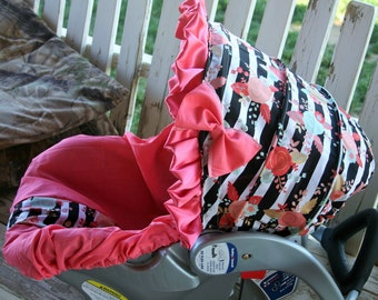 black, white coral and aqua flowers infant hood cover and coral cotton infant car seat cover w/ cotton coral bow and coral ruffle