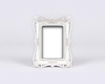 White Baroque Frame, Distressed Shabby Chic Photo Frame, Antique Bridal Shower, Wedding Signs, Centerpiece, Vintage Charming Edwardian Frame