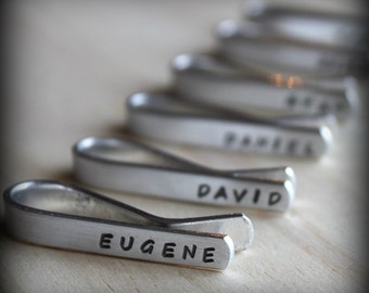 Sale. Hand Stamped Tie Clip Bar Personalized - Groomsman. Fathers Gift