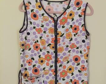 Mod 60's  Flowered Zip-up Vest