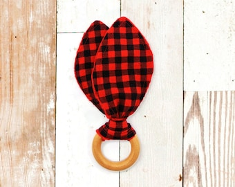 Wooden Teething Ring - RED BUFFALO PLAID (maple teething ring, bunny ear teether, bunny ear teething ring, baby shower gift)