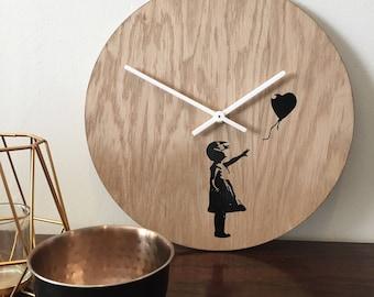 Banksy Wooden Wall Clock - Wall Art Clocks by Elablo - Quirky Wall Clock 30cm