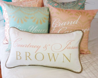 Mint & Coral Personalized Wedding Pillows