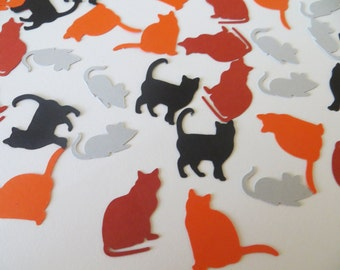 Cat and Mouse Confetti - Set of 120 - Handmade - Table Confetti - Party Decor