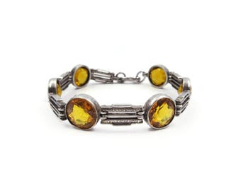Art Deco Sterling Citrine Glass Bracelet - Sterling Silver, Embossed Metal, Orange Glass, Amber Glass, November Birthday, Art Deco Jewelry