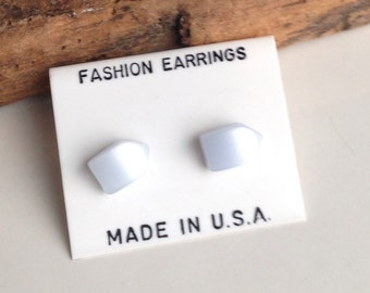 Pentagon Shaped Stud Earrings, New Old Stock, Pearlescent Earrings, Vintage Earrings, Post Earrings, Etsy, Etsy Jewelry, Alysbeads