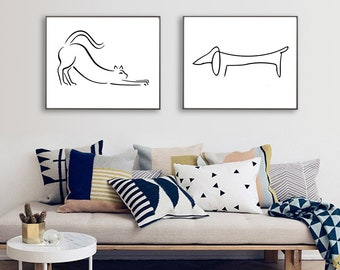 Picasso Dog Cat Print Set, The Dog Picasso, Picasso Dachshund, Picasso Cat Print, Picasso Line Drawing, Minimalist Printable Dowload