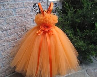 ORANGE FLUFFY TOP - Tutu Dress - Flower Girl Gown - Pageant Girl Dress - Halloween Party Tutu - Autumn Tutu Dress - Orange Tutu Dress -