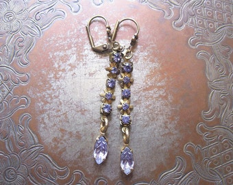 Lavender Rhinestone Earrings / Floral Vintage Assemblage Earrings / Sparkly Earrings / Boho Chic