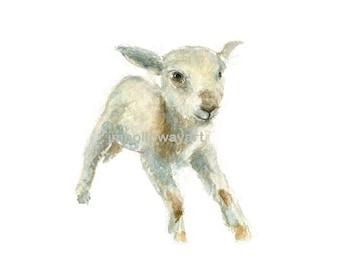 Watercolor Lamb, Lamb Print, Farm Animal Print,
