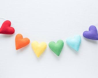 Heart Garland - Rainbow Baby – Nursery Garland – Rainbow Birthday – Nursery Decor – Rainbow Party Decor – Baby Shower Gift - Photo Prop