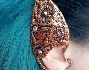 Elf ear cuff / Polymer clay ear cuff / Copper wire ear cuff / Elven ear jewelry/ Faerie jewerly