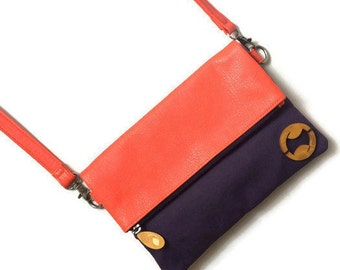 clutch purse with strap, foldover crossbody bag, shoulder handbag, vegan handbags, eco friendly purses, vegan gifts for her, moms day gifts