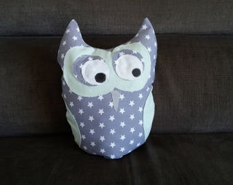 cushion green OWL blanket of stars/gray water
