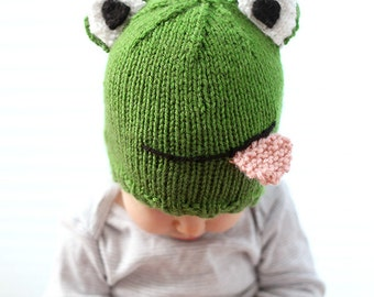 Baby Frog Hat KNITTING PATTERN / Frog Hat Pattern / Knit Frog Baby Hat / Frog Photo Prop / Frog Lover Gifts / Kids Animal Hat/ Frog Baby Hat